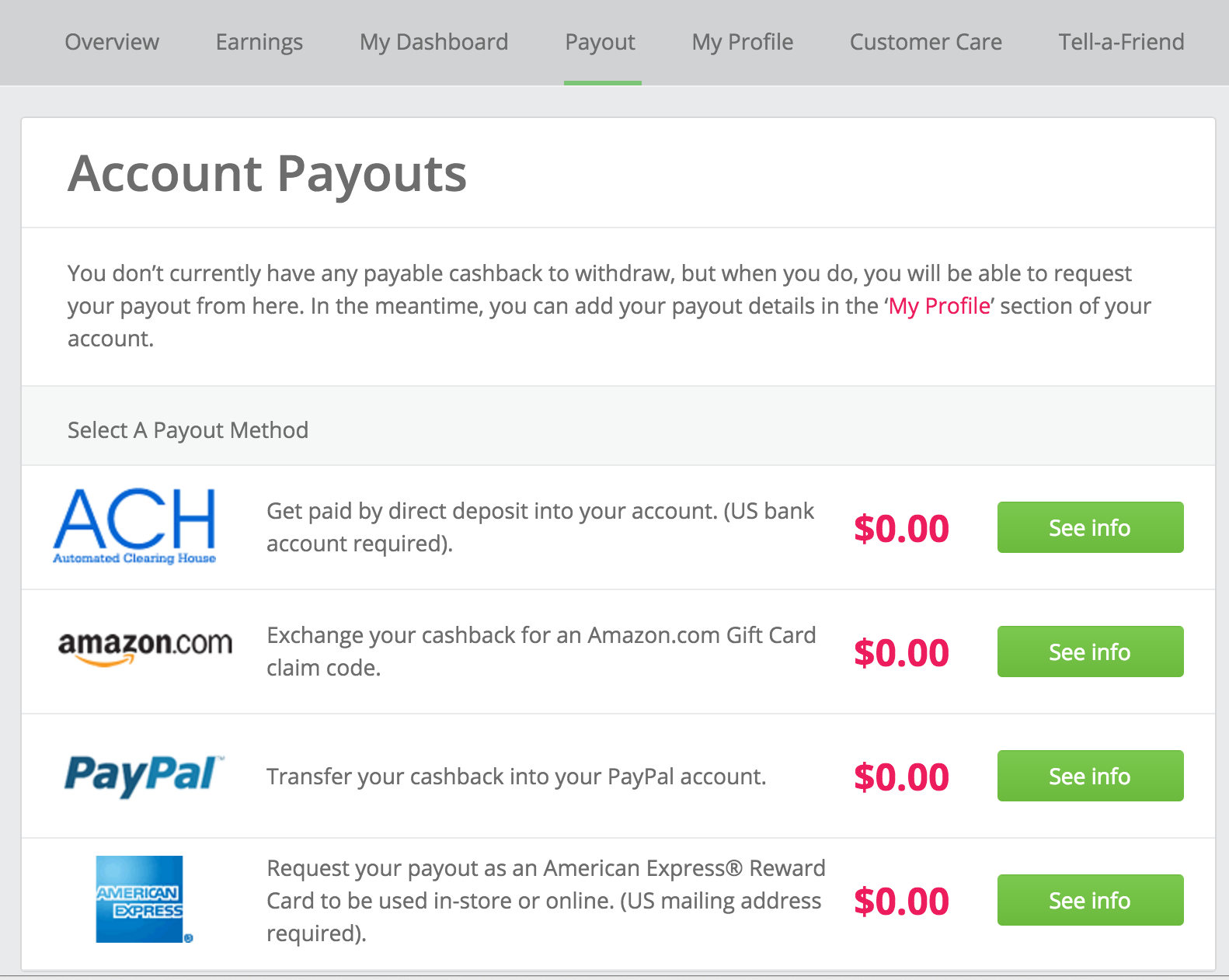 account payouts